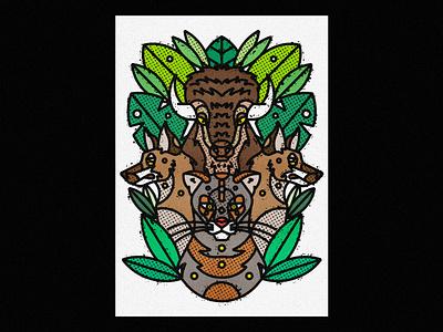 Utah Wildlife - Mountain Lion, Coyotes & American Bison cougar bison coyote puma mountain lion utah fauna zoo contemporary modern jungle leaves safari wild illustration art-print line-art nature animals wildlife