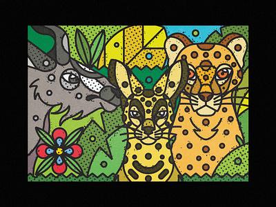 African Wildlife - Cheetah, Serval & Kudu african animals cat kudu serval guepard cheetah fauna zoo contemporary modern jungle leaves safari wild illustration art-print line-art nature animals wildlife