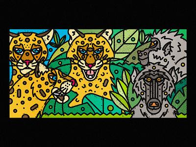African Wildlife - Leopards & Baboons african animals africa baboon leopard bigcat african wildlife fauna zoo contemporary modern jungle leaves safari wild illustration art-print line-art nature animals wildlife