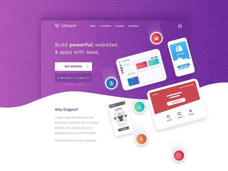 Origami Marketing Home gradient japanese cli mobile apps javascript platform header website origami