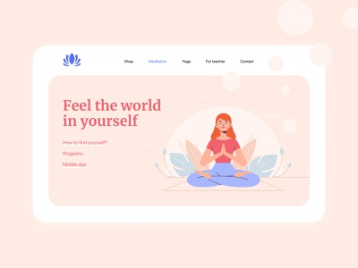 Meditation / Yoga course school course mind soul meditation app yoga shop shop yoga app yoga studio meditation vector application minimal wedsite ux design web ui ui  ux app