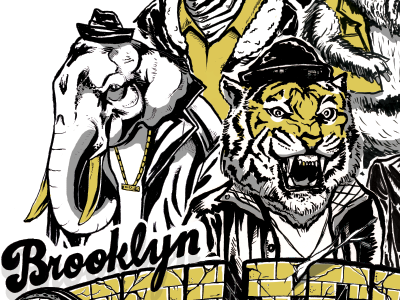 Brooklyn Zooligans Poster lettering illustration poster hand drawn animals