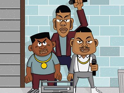 B-Boys vector hiphop rap boombox graffiti