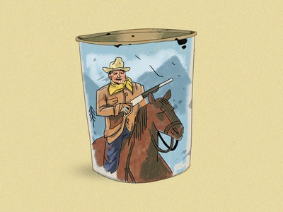 John Wayne Wastebasket cowboy wacom photoshop illustration drawing digital illustration digital art art