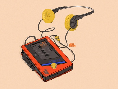Walkman music art music cassette tape cassette player cassette walkman drawing illustration digital illustration digital art
