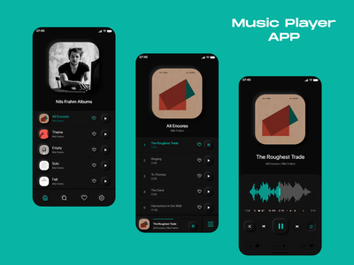 Music Player App app design application ui uiuxdesign all encores nils frahm music player app music app music player uiux ux uidesign ui adobe xd