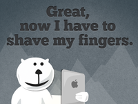 Furry Fingers bear ipad fingers shave