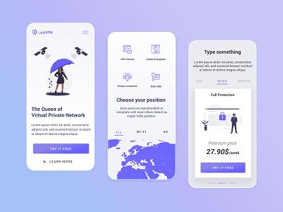 VPN App Concept branding illustration ux ui design app