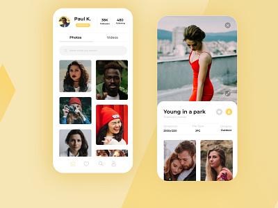Photos Platform App animation illustration branding ux ui design app