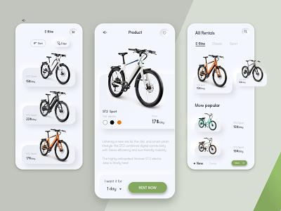 E-Bike Retal App website minimal ux ui design app