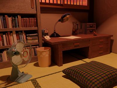 Nostalgic Tatami Room blender3dart blender 3dcg 3d