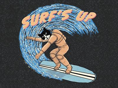 Surf's Up retro space cat tshirtdesigner tshirtdesign shirtdesign shirt illustration design cartoon branding apparel graphics