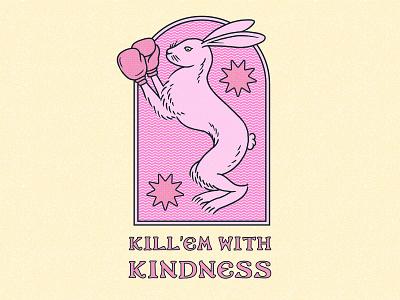 Kill'em With Kindness retro logo badge logo vintage badge rabbit logo rabbit tshirtdesign tshirtdesigner hand drawn adobe photoshop shirt shirtdesign illustration design branding apparel graphics