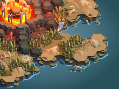 Game map real time level environment polygon game dev gamedev 3d blender game faceted low poly