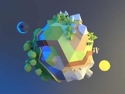 Tiny planet low poly 3d tiny small planet blender day night
