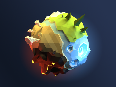 Low poly planet low poly 3d faceted polygon blender planet space tornado volcano whirpool forest