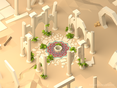 """""""Sacred seasons"""" game concept faceted low poly game dev game environment level"""