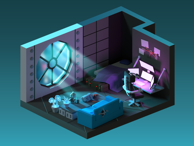 Cyberpunk room cyberpunk isometric faceted low poly room