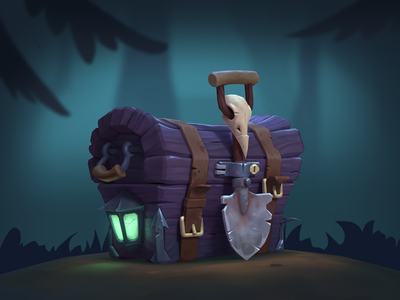 Plague doctor chest 3d model plague doctor chest hand painted hand paint low poly