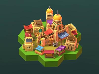 Stylized market building model gamedev game dev 3d blender game low poly