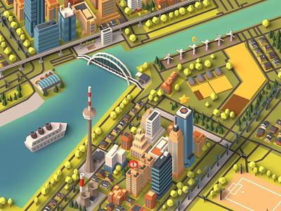Tiny city animation looped loop game dev faceted low poly gamedev game art game city animated animation 3d blender