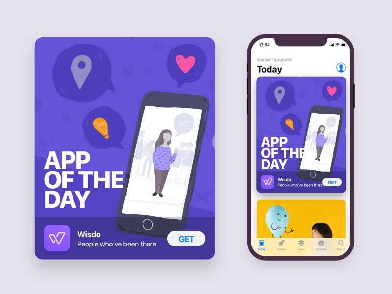 App Of The Day ui ux design typography logo button responsive mobile wisdo app purple appstore apple illustration app of the day