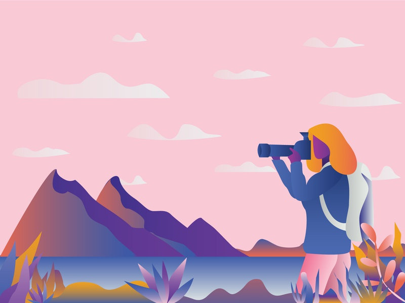 Celebrate Camera Day editorial character hill landscape landing page nature nature illustration photograhy photographer flat design flat illustration flat art print illustrator vector illustration design