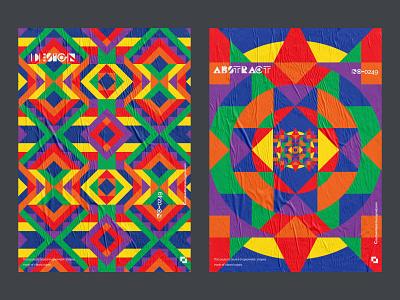 Geometric poster design series. vector colourful experimental arabic 90s postmodern brutalism modern digitalartwork retro festival web graphic vibrant pattern shapes poster geometric print abstract
