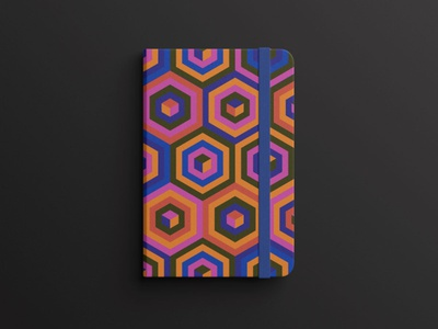 Notebook cover page design series #4. geometric creative kitte pirates booklet colors notebook bookcover stationary marketing visual shapes print pattern illustrator hexagon geometric art design digital branding