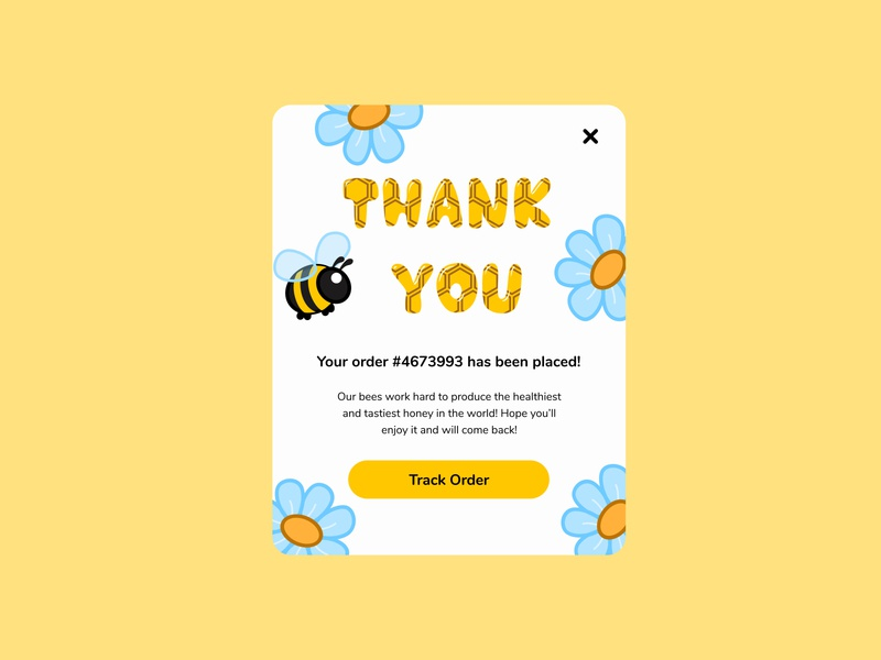 Thank you/077 shopping order flowers bee illustration honey dailyuichallenge uidesign daily 100 challenge dailyui 077 077 thankyou card thanks thankyou