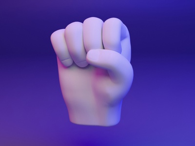 ✊ 3D design Emoji - Hand Gesture -  raised fist raised fist dear3d fingers hand socialmedia cyber illustration design brand b3d 3d