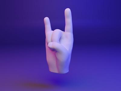🤘 3D Hand Emoji - Sign of the Horns ui ux webgl horns emoji fingers dear3d socialmedia cyber illustration design 3d