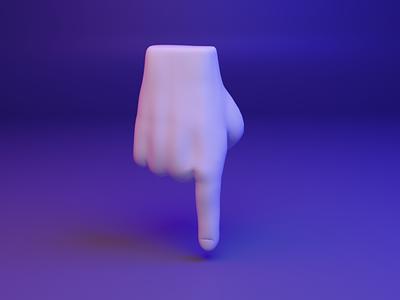 👇 3D design emoji - Backhand Index Pointing Down web ui ux webgl hand emoji fingers dear3d socialmedia cyber illustration design 3d