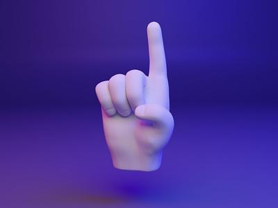 ☝️ 3D design emoji - Index Pointing Up web uix ux webgl hand emoji fingers dear3d socialmedia cyber illustration design 3d