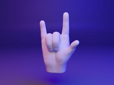 🤟 3D Hand Emoji - Love you love gesture hand webgl web ux ui fingers dear3d cyber design 3d