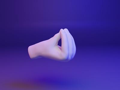  3D design web emoji - Pinched fingers dear3d ux ui fingers gesture hand emoji blender design 3d