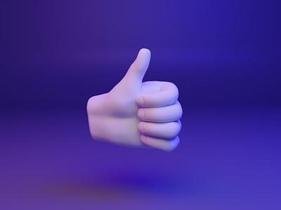 👍 3D design web emoji - Thumbs Up thumb threejs gltf webgl hand gesture ux ui emoji illustration design 3d