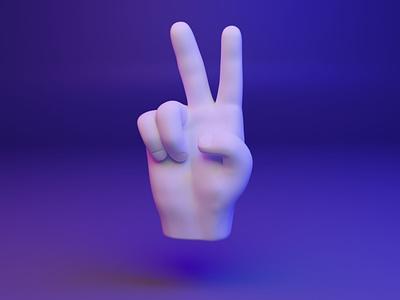 ✌️ 3D Hand Emoji - victory - peace peace victory ux ui illustration design 3d