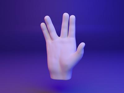 🖖 3D Hand Emoji - Vulcan Salute gesture hand salute vulcan ux ui design 3d