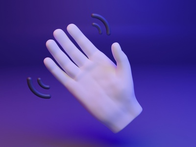 👋 3D Hand Emoji - Waving Hand webgl gltf gesture hand waving ux ui design 3d