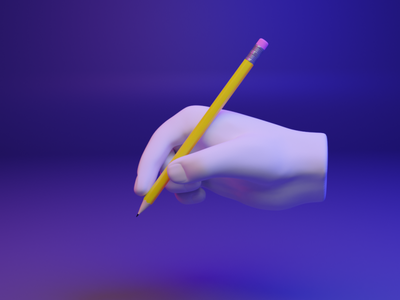 ✍️ 3D design web emoji - Writing Hand gesture hand emoji pen write media design ux ui 3d