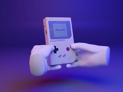 🕹️ Bonus - 3D web design - Gameboy 90s 80s gameboy asset webgpu opengl webgl babylonjs threejs gesture hand ux ui media cyber design 3d