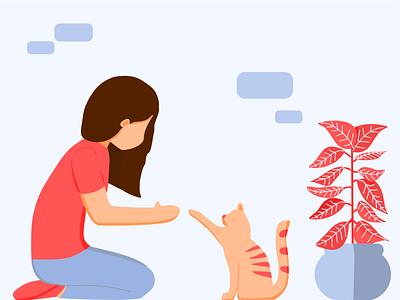 Handshaking a cat handshake pet cat illustration flatart design art