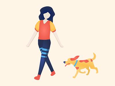 Everyday Joys #1 dog girl illustration flat illustration flatdesign vectorart vector graphicdesign flatart illustration design art