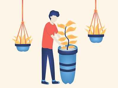 Everyday Joys #3 plants boy flat illustration flatdesign vectorart vector graphicdesign flatart illustration design art