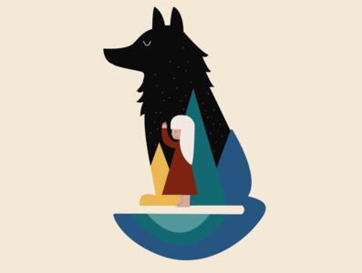 Wolf and girl | Illustration girl wolf branding logo illustration design