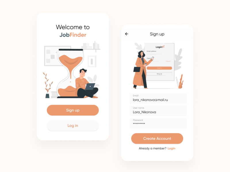 Sign up screen | Day 001 of DailyUI challenge dailyuichallenge dailyui 001 dailyui login signup job uxui uidesign mobileapp mobile ui mobile ui ux design