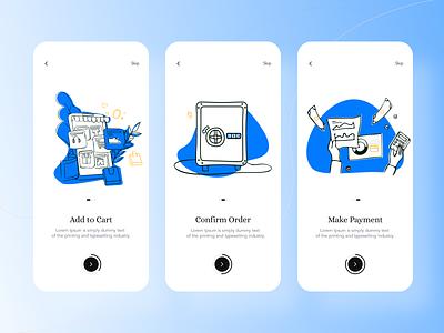 Onboarding design screens for E-commerce app dailyuichallenge illustration mobile design mobile ui mobile app uidesign ui onboarding ui onboarding design