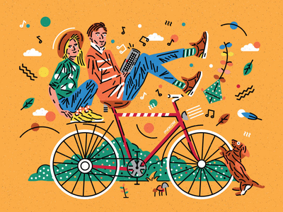 Cyclist Lovers flat icon flat design vector icon icons jbl festival bike music nature dog vector icon lovers love happy cyclist