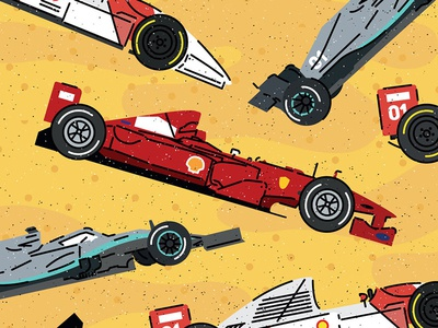 Formula 1 Bolid - Book illustration flat moto cars infographic grain icon vector pattern illustration bolid formula1
